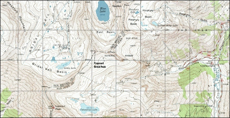 Map of Blue Lake near Telluride